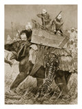 Prince of Wales to India, 1876: Prince's Elephant Charged by Tiger, from 'Illustrated London News' Giclee Print by Richard Caton Woodville