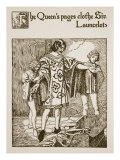 Queen's Pages Clothe Sir Launcelot, Illustration, 'The Story of Grail and the Passing of Arthur' Giclee Print by Howard Pyle