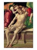 Dead Christ Supported by Two Angels Giclee Print by Giovanni Santi Or Sanzio