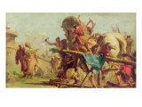 The Building of the Trojan Horse, c.1760 Giclee Print by Giandomenico Tiepolo