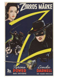 The Mark of Zorro, Swedish Movie Poster, 1940 Lámina giclée