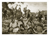 Defeat and Death of King Oswald, 642, Illustration from 'Hutchinson's Story of British Nation' Giclee Print by Archibald Webb