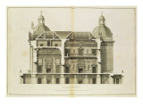 Houghton Hall: Cross-Section of the Hall and Salon, Engraved by Pierre Fourdrinier, 1735 Giclee Print by Isaac Ware