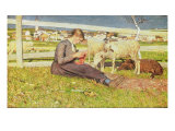 A Girl Knitting, 1888 Giclee Print by Giovanni Segantini
