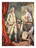 George Romney Painting a Portrait of Lady Hamilton Giclee Print by Dudley C. Tennant