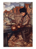 A Boy Cleaning Kettle, 1904 Giclee Print by Nico Jungman