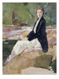Young Woman Sitting upon Rocks Giclee Print by Harry Watson