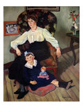 Portrait of Marie Coca and her Daughter, 1913 Giclee Print by Marie Clementine Valadon