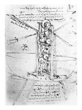 Vertically Standing Bird's-winged Flying Machine, from Paris Manuscript B, 1488-90 Giclee Print by  Leonardo da Vinci