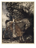 Brunnhilde with horse at mouth of cave, illustration from 'The Rhinegold and the Valkyrie', 1910 Giclee Print by Arthur Rackham