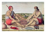 Indians Eating a Meal, engraved by Theodore de Bry Reproduction proc&#233;d&#233; gicl&#233;e par John White