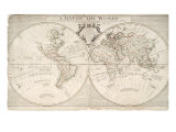 A Map of World, Corrected from the Observations to the Royal Societies of London and Paris Giclee Print by John Senex