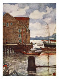 Old Warehouse and Boats, Molde, 1905 Giclee Print by Nico Jungman