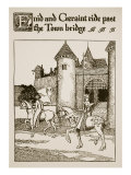 Enid and Geraint Ride Past Bridge, Illustration, 'The Story of Grail and the Passing of Arthur' Giclee Print by Howard Pyle