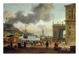 A Mediterranean Harbour Scene Giclee Print by Abraham Storck