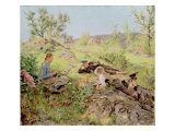 Shepherds, Tatoy, 1883 Giclee Print by Erik Theodor Werenskiold