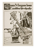 Queen Morgana Loses Excalibur His Sheath, Illustration, 'The Story of King Arthur and His Knights' Giclee Print by Howard Pyle