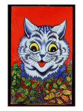 Cat in Holly Giclee Print by Louis Wain