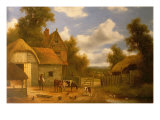 Farmyard Scene Giclee Print by Charles Vickers
