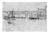 Sketch of London Bridge, 1860 Giclee Print by George The Elder Scharf