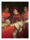 Pope Leo X with Two Cardinals, after a Painting by Raphael Giclee Print by Andrea del Sarto 