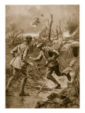 Faithful Unto Death': Wounded British Runner Dies as He Delivers His Message, 1914-19 Giclee Print by William Barnes Wollen