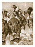 Sir Samuel Baker in Full Pursuit of Rhinoceros in Africa Giclee Print by Stanley L. Wood