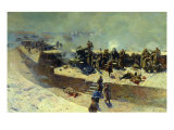 The Alexander Battery Attacking the English-French Fleet on October 5th 1854, 1905 Giclee Print by Franz Roubaud