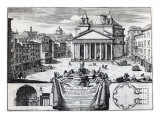 Piazza Della Rotonda with a View of the Pantheon Giclee Print by Domenico de' Rossi