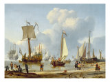 Ships in Calm Water with Figures by the Shore Giclee Print by Abraham Storck