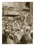 The Procession from Westminster Hall at Coronation of George III and Queen Charlotte Reproduction procédé giclée par Walter Wilson
