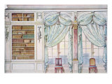 Two Windows with Drawn Curtains and Bookshelves, Illustration from 'Interieurs de Style' Giclee Print by Georges Remon