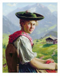 Girl with a Hat in Mountain Landscape Giclee Print by Emil Karl Rau