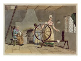 Woman Spinning, from 'Costume of Yorkshire', engraved by Robert Havell Giclee Print by George Walker