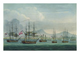 Capture of Maria Riggersbergen on October 18th, 1806 for &#39;The Naval Chronology of Great Britain&#39; Giclee Print by Thomas Whitcombe