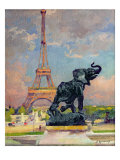 The Eiffel Tower and the Elephant by Fremiet Giclee Print by Jules Ernest Renoux