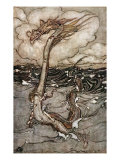 A Young Girl Riding a Sea Serpent, 1904 Giclee Print by Arthur Rackham
