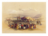 Encampment of the Pilgrims at Jericho, from Volume II of 'The Holy Land' engraved by Louis Haghe Giclee Print by David Roberts