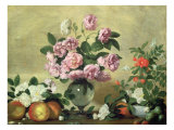 Flowers and Fruit Giclee Print by Bernardo Strozzi