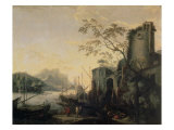 River Landscape with Boats and Ruins Giclée-tryk af Salvator Rosa