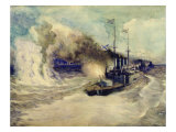 The Battle Between the Black Sea Fleet and the Armoured Cruiser Goeben on 5th November 1914, 1940 Giclee Print by Mikhail Mikhailovich Semyonov
