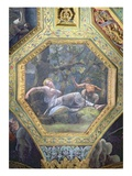 Psyche Sleeping in the Valley of Cupid, Ceiling Caisson from the Sala di Amore e Psiche, 1528 Giclee Print by Giulio Romano