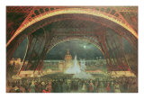 Celebration on Night of Exposition Universelle in 1889 on Esplanade of Champs de Mars Giclee Print by Francois Geoffroy Roux