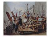 Barricades in the Stephansplatz, Vienna, 1848 Giclee Print by Edouard Ritter
