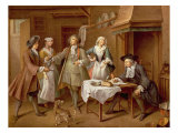 Interior of a Kitchen with Figures Tasting Wine Giclee Print by Cornelis Troost
