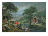 Parable of the Good Shepherd, c.1580-90 Giclée-Druck von Marten van Valckenborch