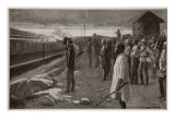 Train Conveying Remains of Mr. Rhodes Saluted by Blockhouse Guards on its Way to the Matopos Hills Giclee Print by Ernest Prater