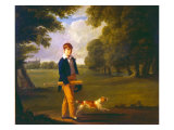 Young Man with a Cricket Bat Walking a Spaniel in the Grounds of Eton College Giclee Print by Ramsay Richard Reinagle