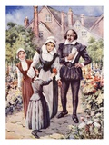 William Shakespeare, with His Wife and Two Daughters, in Garden at New Place, Stratford-Upon-Avon Giclee Print by Dudley C. Tennant
