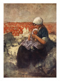 Mother and Child of Scheveningen, 1904 Giclee Print by Nico Jungman